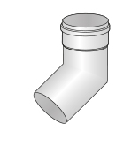 Koleno bílý plast 45st