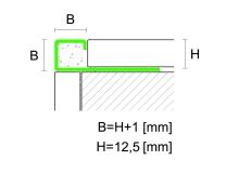 Čtvercový ukončovací profil Profilpas eloxovaný hliník titan kartáčovaný 12,5mm 2,7m