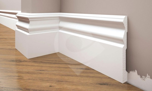 Cezar Elegance podlahová soklová lišta 119x15mm 2,44 m bílá