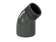 Bazénové pvc koleno s vnějším závitem šedé, úhel 45st