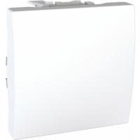 Přepínač střídavý se šroubovými svorkami Unica, 2 moduly, bílý
