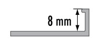 Ukončovací L profil Cezar hliník eloxovaný champagne 8mm 2,5m