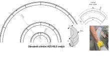 Osázení silničního obrubníku H25R0,5 25 cm vnějšího   na beton  cena práce bez materiálu  za m/b