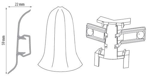 Cezar PREMIUM vnější roh, PVC, 59mm, wenge, dekor 109