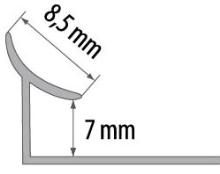 Vnitřní roh pod obklad Cezar plast tmavě šedý 7mm 2,5m
