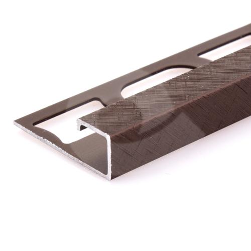 Čtvercový ukončovací profil Profilpas eloxovaný hliník hnědý kartáčovaný 12,5mm 2,7m