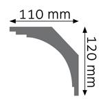 Římsová lišta hladká Cezar polyuretanová pěna 110x120mm 2,4m