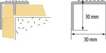Schodová hrana vrtaná Cezar 30x30mm 3m stříbrná