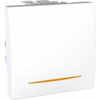 Přepínač střídavý se signalizační kontrolkou Unica, 2 moduly, bílý