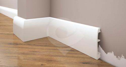 Cezar Elegance podlahová soklová lišta 69x14 mm 2,44 m bílá
