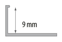 Ukončovací L profil Cezar plast tmavě šedá 9mm 2,5m