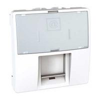Datová zásuvka Unica 1xRJ45 S-One, kat.6 UTP, 2moduly bílá