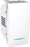 Ovládač tlačítkový Unica s orientační kontrolkou, 1 modul, bílý