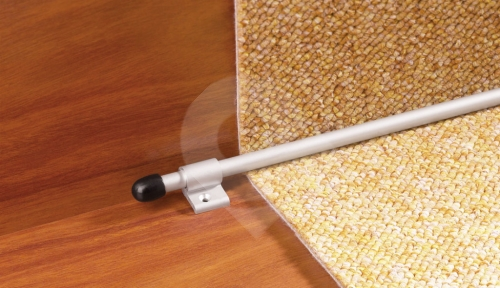 Schodová tyč ke kobercům Cezar s ukončením eloxovaný hliník stříbrný průměr 10mm 1,2m
