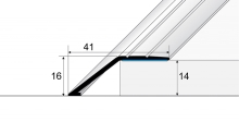 Náběhová lišta Profil Team samolepící 41x16mm 2,7m stříbrná