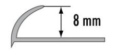 Obloučková ukončovací lišta otevřená Cezar přírodní hliník 8mm 2,5m
