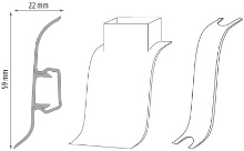 Cezar PREMIUM kabelový kanál, PVC, 59mm, leštěný hliník, dekor 221