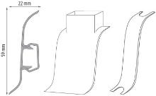 Cezar PREMIUM spojka na kabely, PVC, 59mm, dub světle šedý, dekor 078