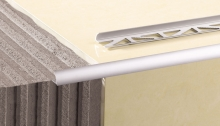Obloučková ukončovací lišta otevřená Cezar hliník vysoký lesk 10mm 2,5m