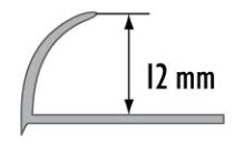 Obloučková ukončovací lišta otevřená Cezar pvc tmavě šedá 12mm 2,5m