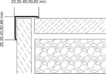 Vingl nerez vysoký lesk oboustranný příhyb 25x25x1mm 2,5m