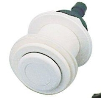 Pneumatické tlačítko bílé včetně průchodu stěnou pro předvyrobené bazény