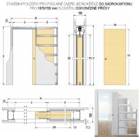 Stavební pouzdro pro posuvné dveře do sádrokartonu Eclisse jednokřídlé pro 1970/150 mm tloušťku dokončené příčky
