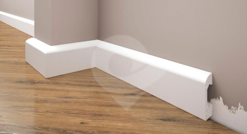 Cezar Elegance podlahová soklová lišta 49,5x14 mm 2,44 m bílá