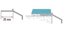 Okapová balkonová lišta k dlažbě Cezar eloxovaný hliník stříbrný 2,5m