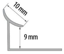 Vnitřní roh pod obklad Cezar plast světle šedý 9mm 2,5m