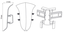 Cezar PREMIUM vnitřní roh, PVC, 59mm, dub rice, dekor 225