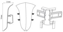 Cezar PREMIUM vnitřní roh, PVC, 59mm, leštěný hliník, dekor 201