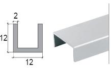 U profil Cezar přírodní hliník 12x12x2mm 2m