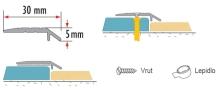 Náběhová lišta samolepící 30x5 mm hliník stříbrná 1 m