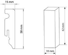 Lišta podlahová soklová mdf dub espresso 58 mm 2,4 m