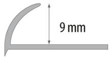 Obloučková ukončovací lišta otevřená Cezar pvc stříbrná matná 9mm 2,5m