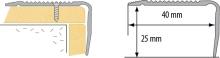 Schodová hrana vrtaná Cezar 40x25mm 2,5m stříbrná
