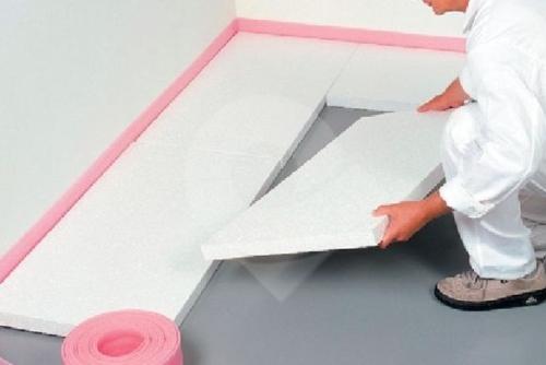 Položení polystyrénu, přeprava před zalitím podlahy anhydritem