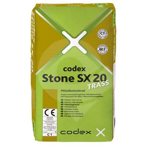Lepidlo pro střední lože s přídavkem trasu CODEX Stone SX 20 Trass C1TE 25kg