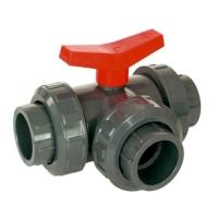 Kulový třícestný ventil 20mm L průtok