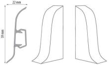 Cezar DUO koncovka levá+pravá, PVC, 59mm, teak, dekor 072