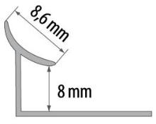Vnitřní roh pod obklad Cezar plast bílý 8mm 2,5m