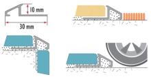 Nájezdový profil pod dlažbu Cezar eloxovaný hliník 10mm 2,5m