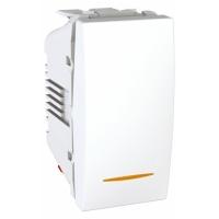 Přepínač střídavý se signalizační kontrolkou Unica, 1 modul, bílý