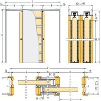 Pouzdro Eclisse do SDK zákryt 225mm, směr zasouvání varianta B - první dveře pravé