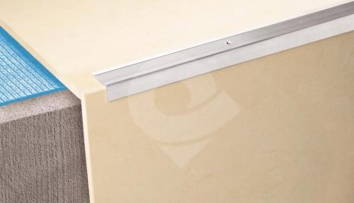 Schodová hrana vrtaná Cezar 35x15mm 0,9m stříbrná