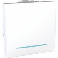 Ovládač tlačítkový s orientační kontrolkou, 2 moduly, bílý