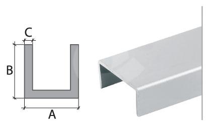U profil Cezar eloxovaný hliník 20,5x9x1mm 2m