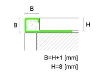 Čtvercový ukončovací profil Profilpas eloxovaný hliník platina kartáčovaný 8mm 2,7m