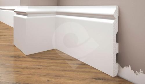 Cezar Elegance podlahová soklová lišta 136x16,8 mm 2,44 m bílá